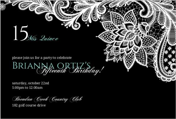 1b50f47292 Black Floral Lace Quinceanera Invitation