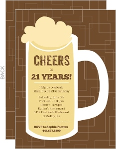 Brown Beers Cheers 21st Birthday Invitation
