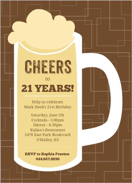 Brown beers cheers 21st birthday invitation 21st birthday invitations brown beers cheers 21st birthday invitation filmwisefo