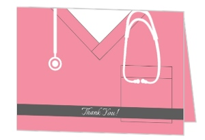 Nursing Scrubs Graduation Thank You Card