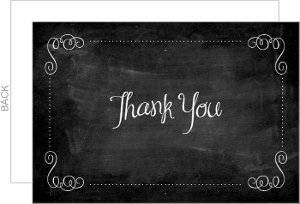 Chalk Board White Flourish Thank You Card