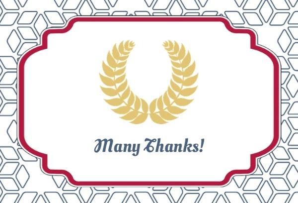 Blue And Gold Graduation Wreath Thank You Card Graduation Thank