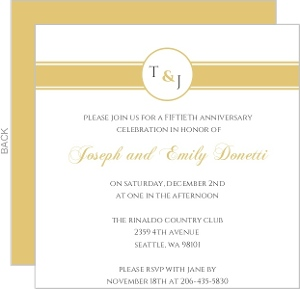 Gold Monogram 50th Anniversary Anniversary Party Invite