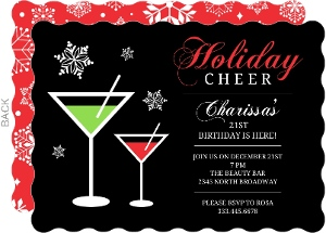 21st Birthday Invitations Holiday Cheer Martini