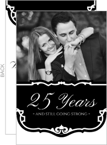Black and White Vintage 25th Anniversary Party Invitation
