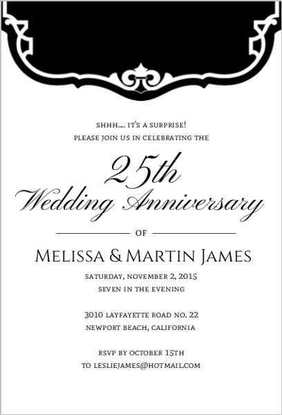 black and white vintage 25th anniversary party invitation 25th