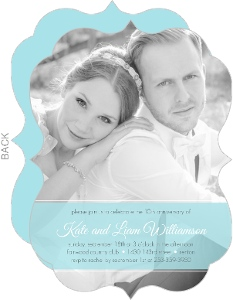 Blue Ribbon Photo Wedding Anniversary Invite