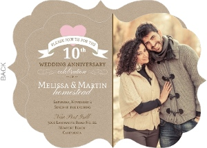 Pink Heart 10th Wedding Anniversary Invitation