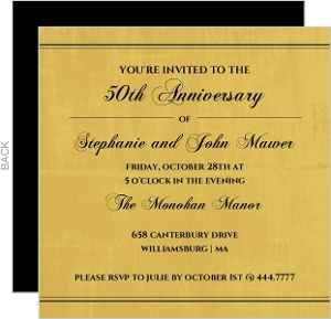 Old Fashioned Gold Script Anniversary Invite