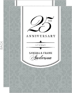 Silver Damask Celebration 25th Anniversary Invitation