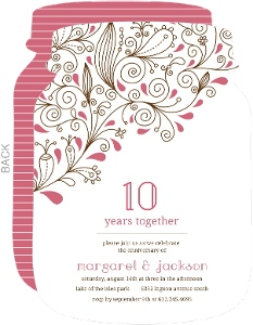 Pink Floral 10th Anniversary Party Invitation