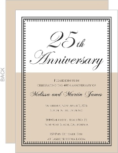 Vintage Taupe and White 25th Anniversary Anniversary Invite