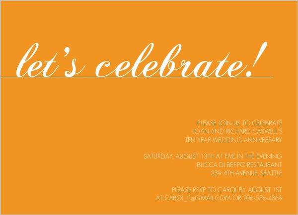 10th Wedding Anniversary Invitations: Orange Let's Celebrate Wedding Anniversary Invitation