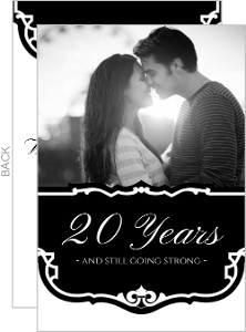 Black and White Vintage 20th Anniversary Party Invitation