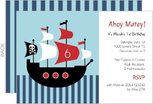 Pirate Ship Birthday Party Invitations