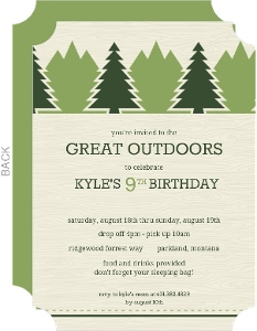 Green Outdoor Adventure Slumber Party Invitation