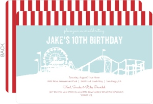 Amusement Park Red and Blue Birthday Invite