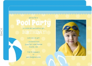 Blue and Yellow Pool Birthday Party Invites