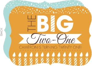 Orange Big Banner 21st Birthday Invitation
