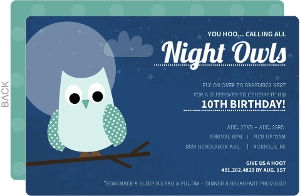 Blue Moonlight Sky Night Owl Kids Birthday Invitation