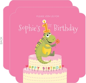 Dino Cake Pink Birthday Invitation