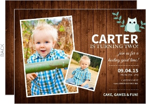 Wood Grain Teal Rustic Owl Kids Birthday Invitation