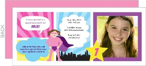 Superhero Girl Comic Birthday Invitation