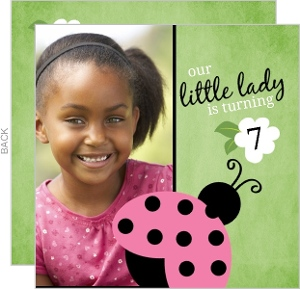 Pink and Green Flowers Ladybug Birthday Invitation