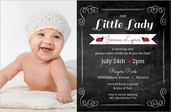 Red Black Chalkboard Frame Ladybug 1st Birthday Invitation First