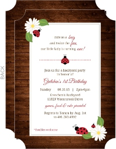 Brown Rustic Floral Ladybug 1st Birthday Invitation