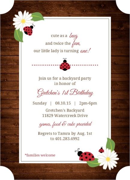 Brown rustic floral ladybug 1st birthday invitation first birthday brown rustic floral ladybug 1st birthday invitation filmwisefo Gallery