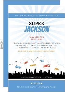 Blue City Silhouette Superhero Birthday Invitation
