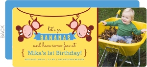 Hanging Monkeys 1st Birthday Invitation