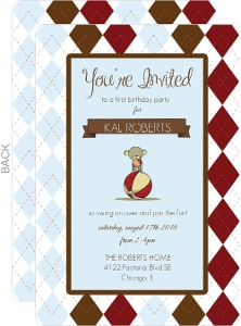 Light Blue Patterned Monkey Birthday Invitation