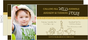 Yellow and Brown Wild Animals Safari Birthday Invitation