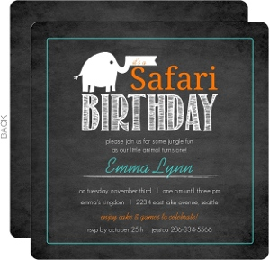 Orange Teal Baby Elephant Chalkboard Safari 1st Birthday Invitation