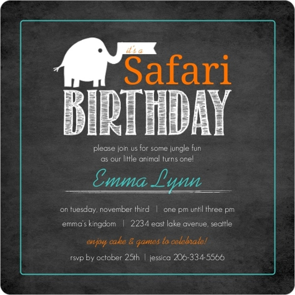 Orange and teal baby elephant chalkboard safari 1st birthday orange teal baby elephant chalkboard safari 1st birthday invitation filmwisefo
