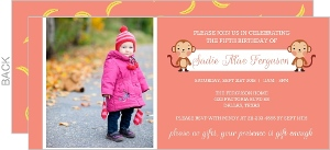 Girly Neon Pink Monkey Kids Birthday Party Invite