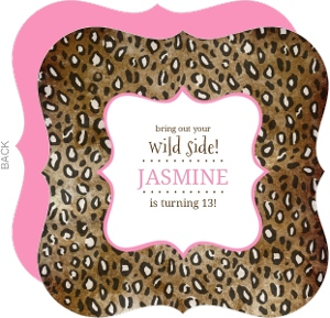 Cheetah Spots Pink Safari Birthday Invitation