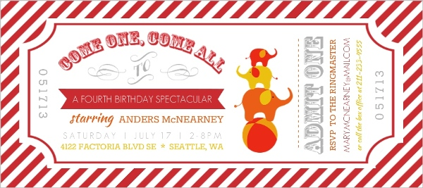 Striped Admit One Ticket Kids Birthday Invitation Kids Birthday