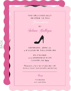 High Heel Pink Quinceanera Invitation