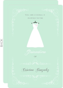 Pale Green and White Dress Quinceanera Invitation