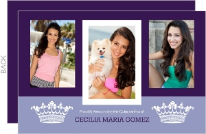 Two Tone Purple Princess Quinceanera Invitation