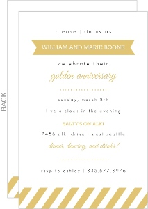 Gold Banner and Stripes Anniversary Invitation
