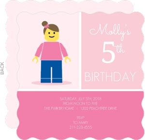 Girl Minifigure Lego Themed Birthday Invitation