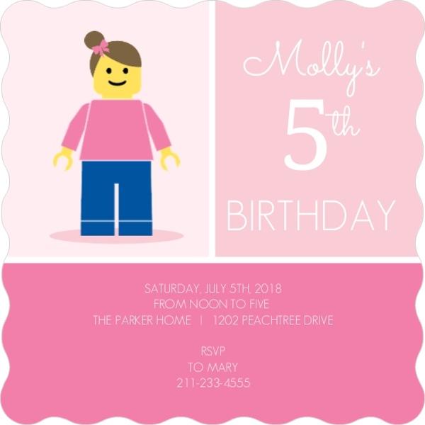 Girl minifigure lego themed birthday invitation kids birthday girl minifigure lego themed birthday invitation filmwisefo
