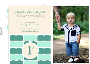 Turquoise Lego Blocks 1st Birthday Invitation