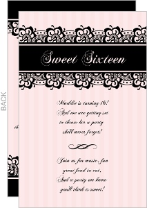 Classic Pink and Black Sweet Sixteen Invitation