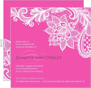 Elegant Pink Lace Sweet Sixteen Invitation