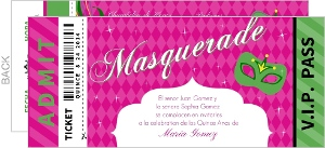 Masquerade Party Pass Quinceanera Invitation